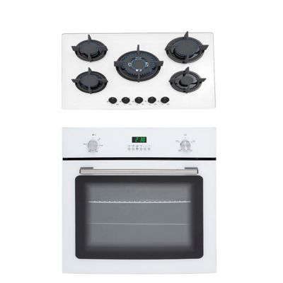 SIA 60cm White Single True Fan Oven & 70cm Gas on Glass 5 Burner Gas Hob