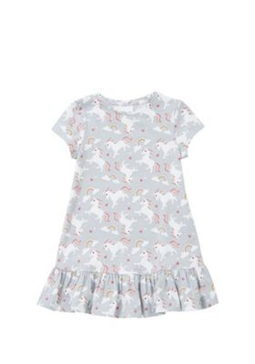 F&F Unicorn Frill Hem Dress Grey Multi 4-5 years