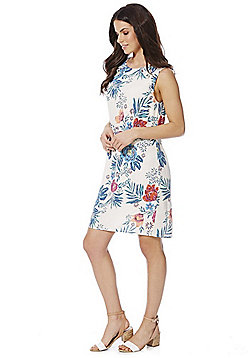 F&F Tropical Print Ruffle Trim Shift Dress - Multi