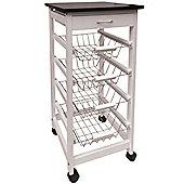 Mckinley - Wood 5 Drawer Kitchen Storage Trolley - White / Silver
