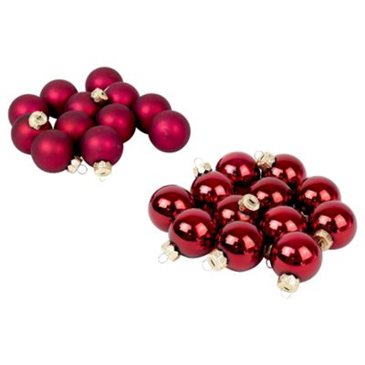 Pack of 24 Red 4cm Christmas Tree Glass Bauble Decorations