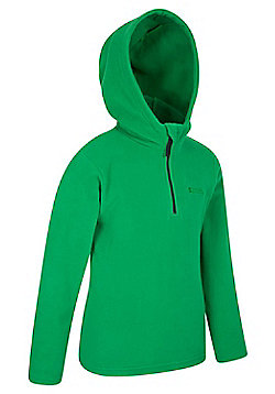 Mountain Warehouse Camber Kids Microfleece Hoodie Boys Girls Hooded Top Childs - Green