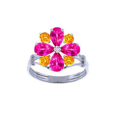 QP Jewellers Citrine & Pink Topaz Rafflesia Ring in 14K White Gold - Size I