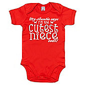 Dirty Fingers Auntie says Cutest Niece ever Baby Bodysuit - Red