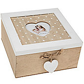 Rustic Heart - Wood Square Storage / Trinket / Jewellery Box With Photo Frame - Brown / White