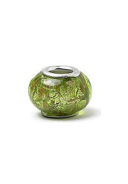 Green Glass Slide On Charm Bead