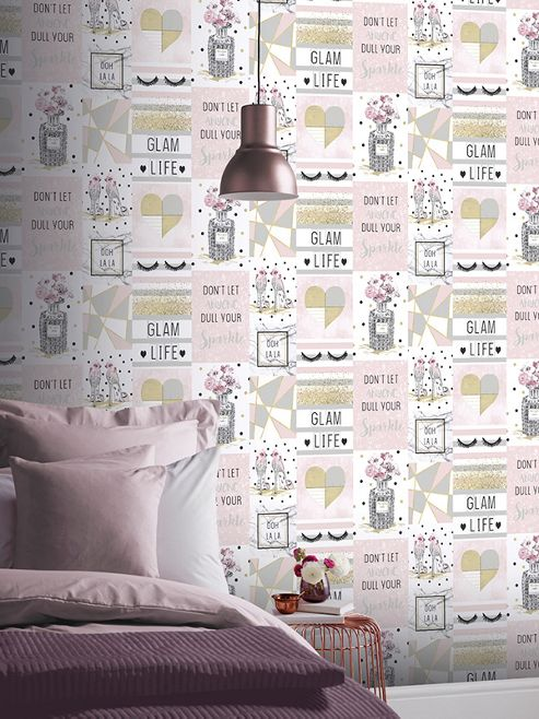 Glam Life Collage Pink Wallpaper Arthouse 699402