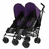 Obaby Apollo Black & Grey Twin Stroller - Purple