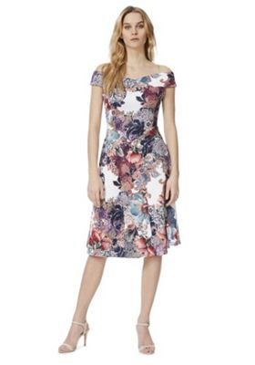 Feverfish Floral Tapestry Print Flared Bardot Dress Multi 12