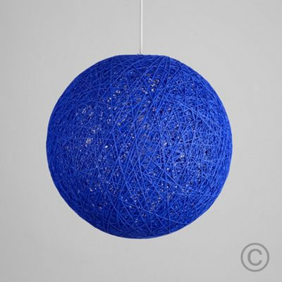 Bjorn 30cm Rattan Ball Ceiling Light Pendant Shade, Blue