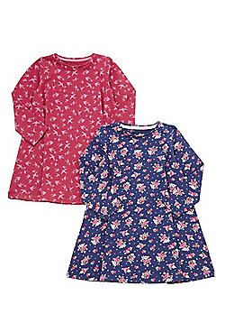 F&F 2 Pack of Floral and Swallow Print Jersey Dresses - Navy & Purple