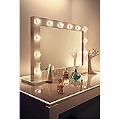 Diamond X Gloss White Hollywood MakeupMirror with WarmWhite Dimmable LED k313WW