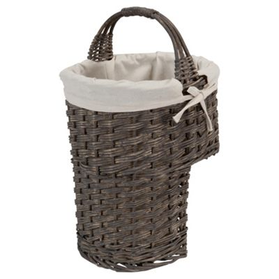 Tesco Grey Wicker Lined Stair Basket