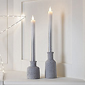 Pair of Silver Ombre Battery Wax Taper Candles