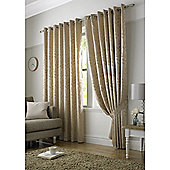 Tivoli Jacquard Leaf Eyelet Lined Curtains - Latte
