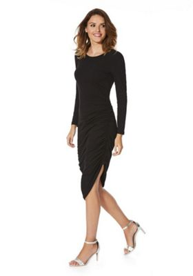 Noisy May Ruched Jersey Midi Dress M Black
