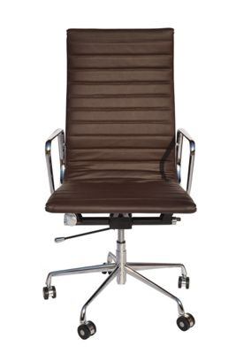 EA119 High Back Ribbed Brown Leather Office Chair
