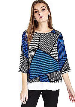 Wallis Petite Geometric Print Double Layer Top - Blue