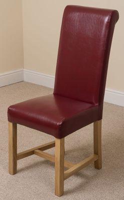 Kuba Chunky Solid Oak 220 cm with 10 Red Washington Chairs