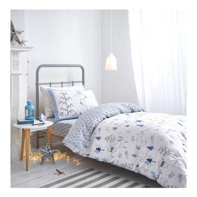 Bianca Cotton Soft Nordic Blue Print Duvet Cover Set - Double