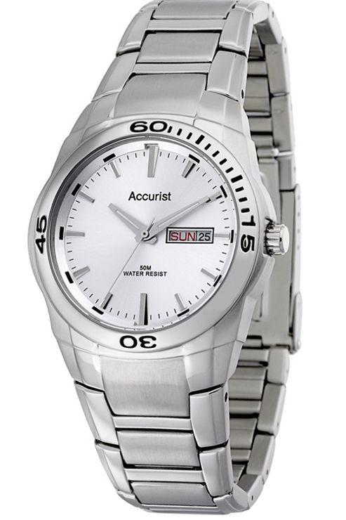 Accurist Gents Silver Tone Bracelet Watch MB639S