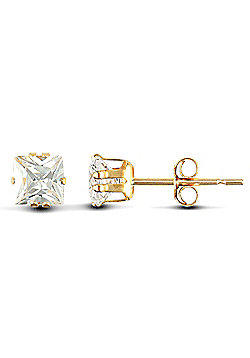Jewelco London 9ct Yellow Gold studs claw-set with Solitaire square shaped CZ stone