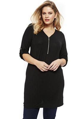 Evans Zip Front Jersey Plus Size Tunic Black 22-24