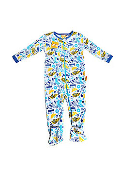 JCB Baby Boy Zip All In One Busy Building Site - White