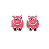 Pink Enamelled Silver Pig Stud Earrings