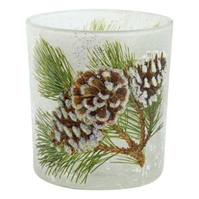 8cm Glittery Pine Cone Glass Christmas Tea Light Candle Holder