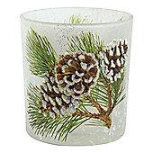 8cm Glittery Pine Cone Glass Christmas Tea Light Candle Holder