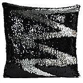 Riva Home Sequin Mermaid Black Silver Cushion Cover - 45x45cm