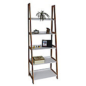 5-Tier Storage Ladder - Bamboo & White