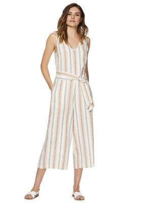 F&F Striped Linen Blend Culotte Jumpsuit Neutral 20