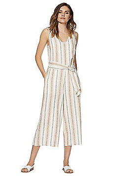 F&F Striped Linen Blend Culotte Jumpsuit - Neutral