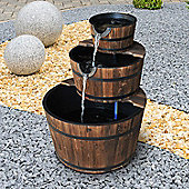 Outsunny Wooden Water Pump Fountain Cascading Feature Barrel Garden Deck (3 Tier)