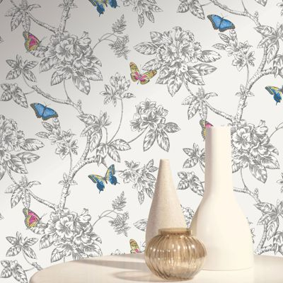 Tahlia Butterfly Wallpaper - White - 11430