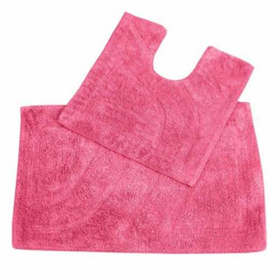 Homescapes Luxury Two Piece Bath Mat Set Cerise Pink