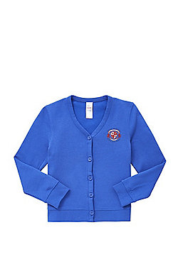 Girls Embroidered Jersey School Cardigan with As New Technology - Royal blue