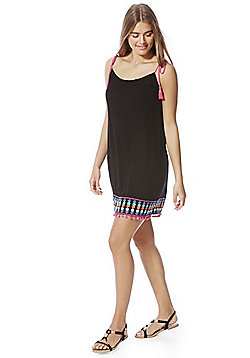 F&F Embroidered Pom Pom Trim Beach Dress - Black