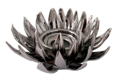 Chrome Lustre Chrysanthemum Tealight Holder