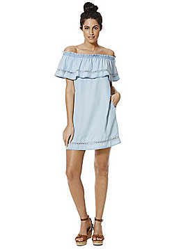 F&F Tencel® Frill Trim Bardot Dress - Light wash