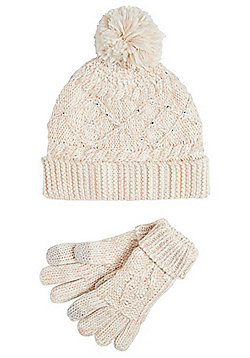 F&F Embellished Cable Knit Bobble Hat and Gloves Set - Pink & Cream