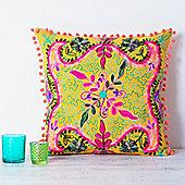 Suzani Embroidered Suzani Square Cushion - Yellow