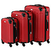 VonHaus 3pc Hard Shell ABS Trolley Suitcase Luggage Set with 4 Rotating Wheels, Combination Lock & Telescopic Handle – Red