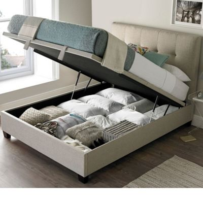 Happy Beds Walkworth Fabric Ottoman Storage Bed - Oatmeal - 5ft King