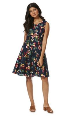 Solo Floral Print Flared Dress Navy Multi 16