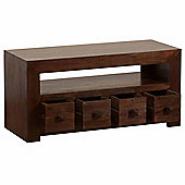 Homescapes Dakota TV Unit with 4 Drawers Dark Shade