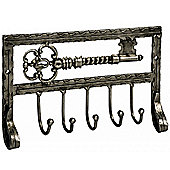 Wall Mounted Traditional 5 Hook Key Rack - Antique Silver