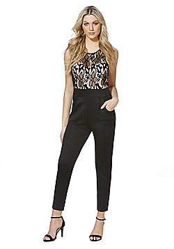 Mela London Lace Top Jumpsuit - Black